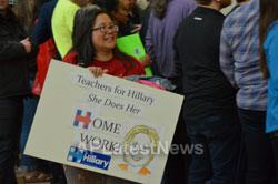 Campaign visit of Hillary Clinton - La Escuelita School, Oakland, CA, USA - Picture 14
