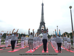 Pictures of Euro Cup and Yoga Festival at Eiffel Tower Rocked Paris